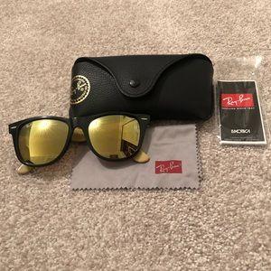 AUTH Rayban gold mirror wayfarer sunglasses 54mm